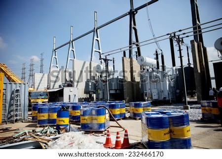 WANGNOI -THAILAND - NOVEMBER 11 : Construction of EGAT's Wangnoi outdoor gas ainsulated switchgear on November 11, 2014 in Ayutthaya province, Thailand - stock photo