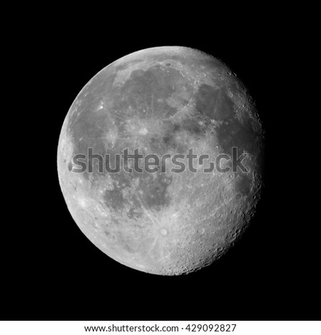 Waning gibbous moon, almost full moon, seen with an astronomical telescope (photo taken with my own telescope, no NASA images used)