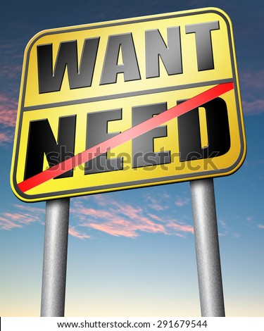 want need back to basic needs or being a big consumer without satisfaction only must have always more never less  - stock photo