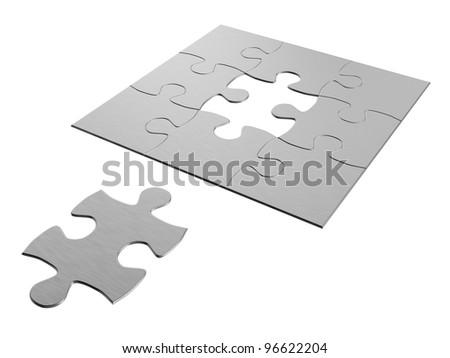 wanting jigsaw puzzle piece - stock photo