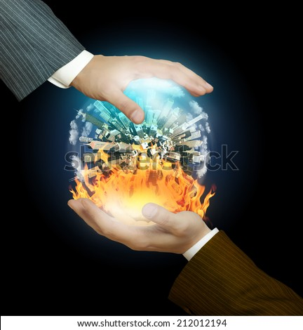 War and peace in the hands of businessmen - stock photo