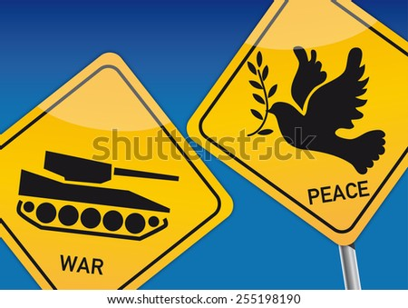 War and Peace, Vektor Illustration with icon images - stock photo