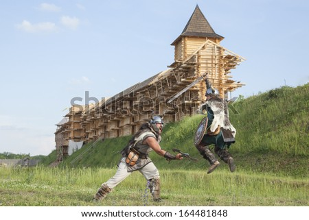 War between vikings - stock photo
