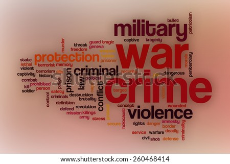 War crime word cloud concept with abstract background