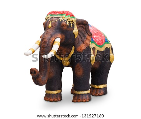 War elephant statue isolated on white background - stock photo
