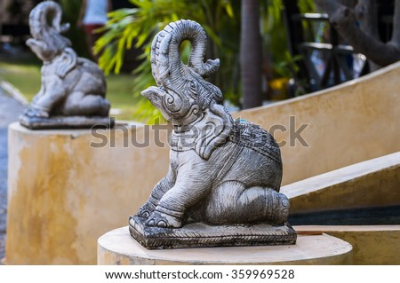 War elephants sculpture, Sun temple Konark - stock photo