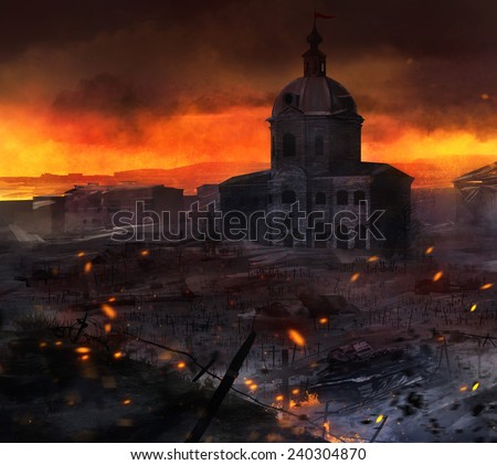 War field art. Illustrated post battle scene with tanks, church & grave crosses background artwork. - stock photo