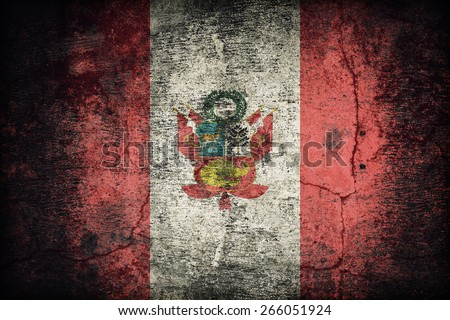 War flag of Peru flag of Peru flag pattern on dirty old concrete wall texture ,retro vintage style - stock photo