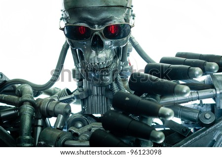War machine with red eyes against isolated white background - stock photo