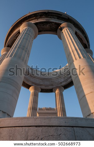 War memorial in Piazza IV November seen from below, Ancona, Italy
