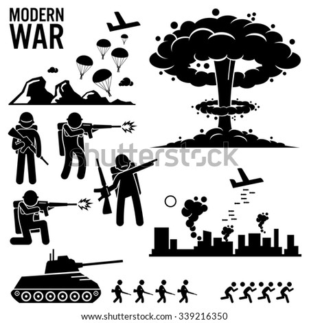 War Modern Warfare Nuclear Bomb Soldier Tank Attack Stick Figure Pictogram Icons - stock photo