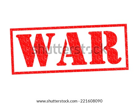 WAR red Rubber Stamp over a white background.