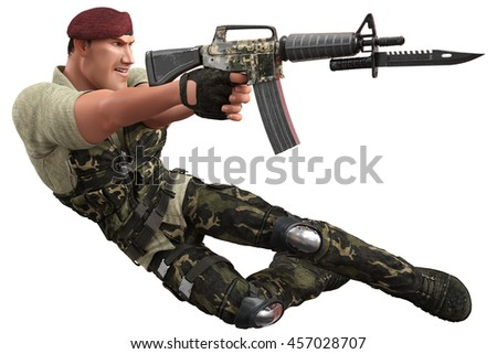 war soldier jumping and killing 3d illustration