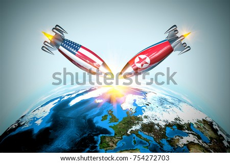 War with nuclear bombs with America and North Korea, 3d rendering