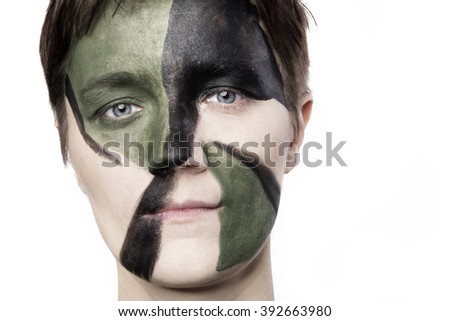 war woman isolated - stock photo