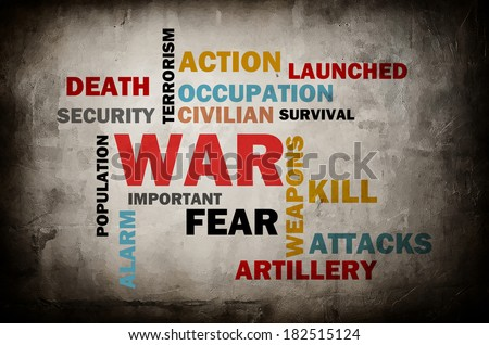 War word cloud as a Grunge Abstract Background  - stock photo