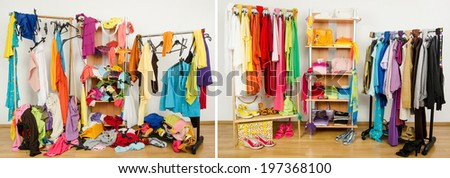 Wardrobe before messy after tidy arranged by colors. Untidy cluttered woman dressing with clothes and accessories vs. closet color coordinated on hangers and shelf. - stock photo