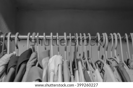 Wardrobe in home is black and white background