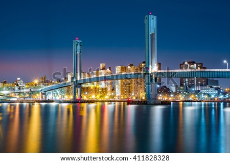 Wards Island pedestrian bridge crosses the Harlem River between Manhattan Island and Wards Island in New York City - stock photo