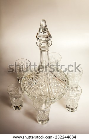 Ware for table layout. Crystal shot glasses and decanter