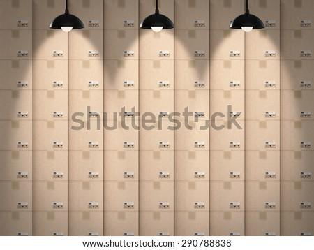 warehouse boxes background - stock photo