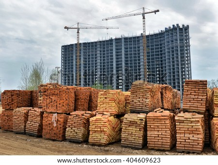 Warehouse bricks on building background