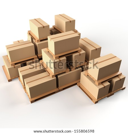 Warehouse. Cardboard boxes on wooden pallets - stock photo