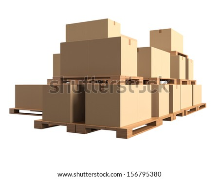 Warehouse. Cardboard boxes on wooden pallets isolated on white background. 3d render illustration - stock photo
