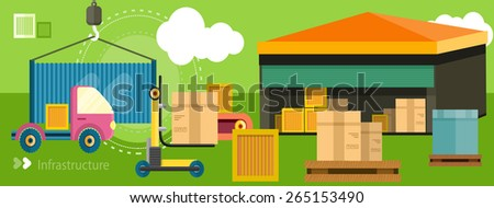 Warehouse distribution delivery in different locations. The technique works with boxes parcels. Delivery shipping concept in flat design on banner. Raster version - stock photo