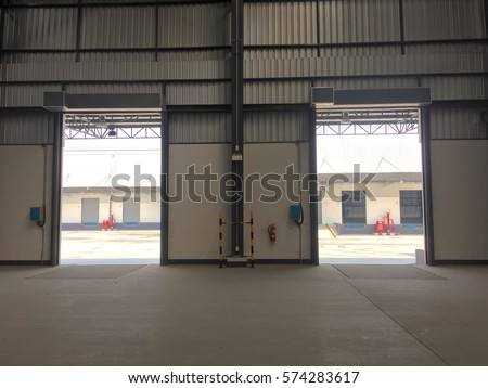 Warehouse Doors For Loading And Unloading Of Cargo In Freight. Warehouse  Doors That Can Be