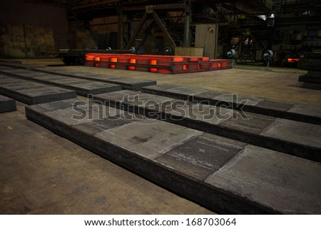 Warehouse heavy steel ingots