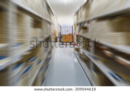 Warehouse in factory blurred