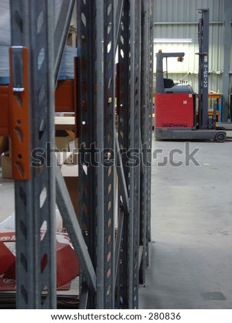 warehouse interior with forklift