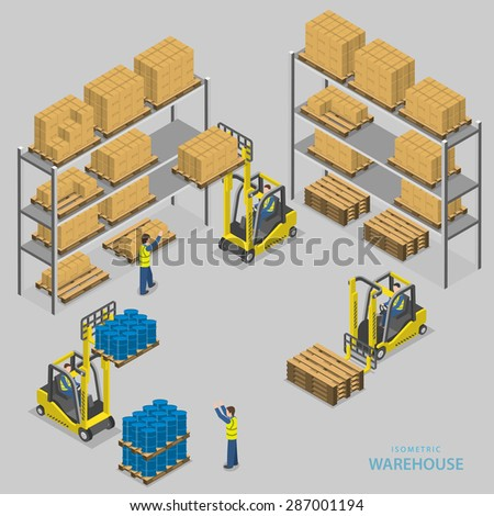 Warehouse loading isometric illustration. Workers of warehouse load boxes and barrels to stacks using forklifts. - stock photo