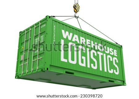 Warehouse Logistics - Green Cargo Container hoisted with hook Isolated on White Background. - stock photo