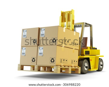 Warehouse logistics, packages shipment, delivery and loading concept, forklift truck lift up pallet with cardboard boxes isolated on white background - stock photo