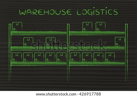 warehouse logistics: shelves with a few product packaging left
