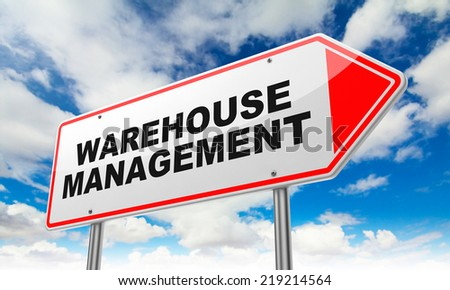 Warehouse Management - Inscription on Red Road Sign on Sky Background.