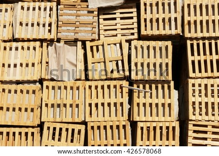 warehouse of old wooden pallets