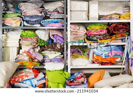 warehouse of textile products - stock photo