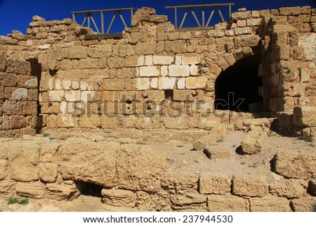 Warehouse Ruins in Caesarea Maritima National Park, a city and harbor built by Herod the Great about 25-13 BC. The archaeological ruins are on the Mediterranean coast of Israel. - stock photo
