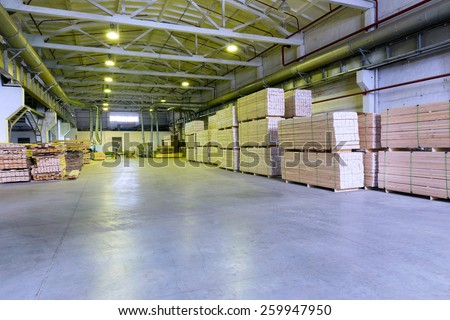 Warehouse sawn wood processing enterprises - stock photo