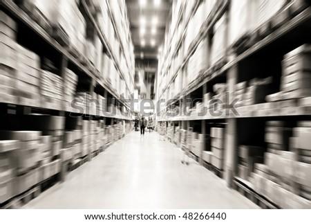 warehouse shelves - stock photo