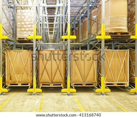 Warehouse Shelves With Rails For Automated Pallet Shuttle - stock photo