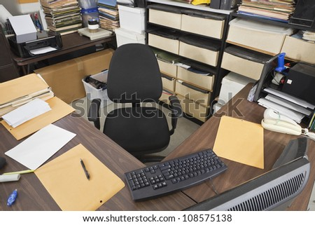 Warehouse shipping department work station. - stock photo
