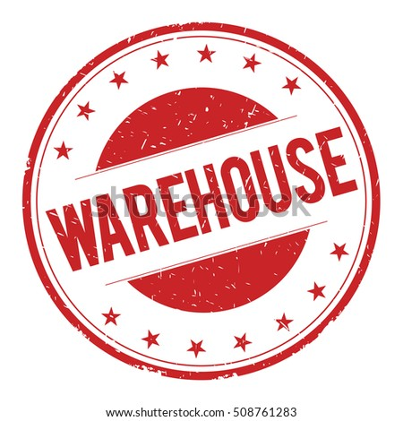 WAREHOUSE stamp sign text word logo red.