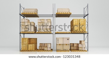 Warehouse with goods packed at various levels - stock photo