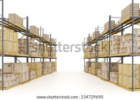 Warehouse with goods packed at various levels isolated on white background - stock photo