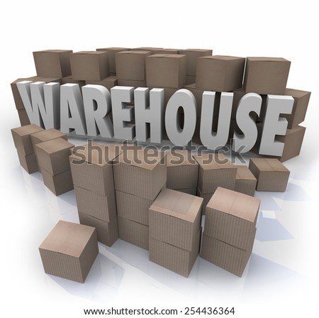 Warehouse word in 3d letters surrounded by cardboard boxes to illustrate inventory management - stock photo