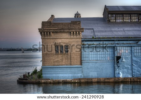 Warehouses on the Delaware River in Philadelphia, Pennsylvania - stock photo